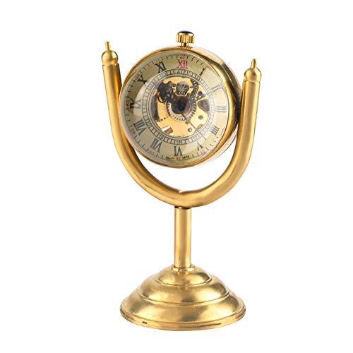 Reloj de Mesa Dorado Hombre, diseño de Trofeo, Reloj de Escritorio para Mujeres, Reloj Giratorio de Mesa, Movimiento de Cuerda Manual para Amigos