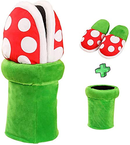 Piranha Plants Plush Slippers Cannibal Flower Style Soft Plush Cotton Slippers Warm Home Wear Loafer Cute Dot Pattern Slippers with Pipe Pot Holder Xmas Gifts