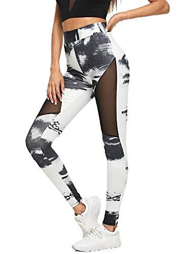 DODOING Damen Mesh Sport Yoga Leggings Tights Streetwear Laufen Hosen Pants Gedruckt Fitnesshose Sporthose Laufhose