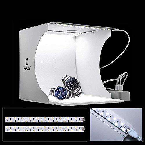 STUDIO SET FOTOGRAFICO PORTATILE LIGHT BOX CON ILLUMIN. LED 6 SFONDI