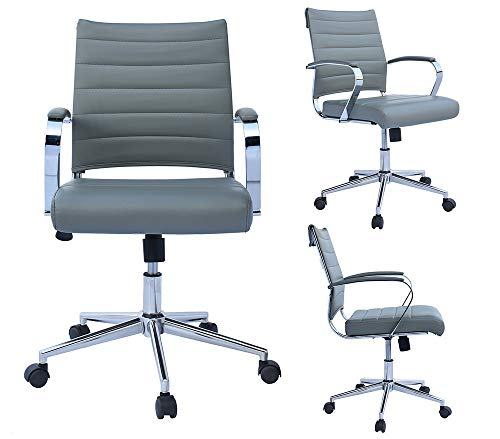 2xhome Modern Mid Back Ribbed PU Leather Swivel Tilt Adjustable Chair Designer Boss Executive Management Manager Office Chair Conference Room Work Task Computer (Gray)