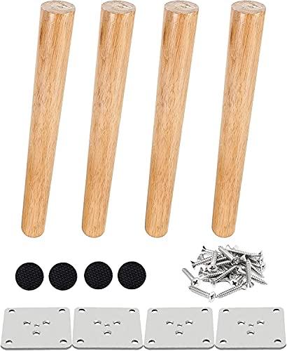Drenky 4 piezas 25cm patas de madera para muebles patas de mesa de madera maciza cónica patas de sofá oblicuas patas de repuesto para muebles con placa de montaje tornillos y protector antideslizante