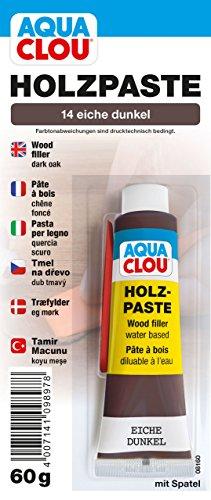 Clou Aqua Holzpaste Holzspachtel: innen Holz Spachtelmasse zum Ausbessern von Löchern, Dellen, Rissen in Möbeln, Türen, Parkett und Laminat - eiche dunkel, 60 g