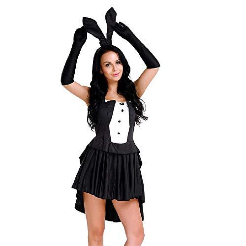Costume da Coniglietta Sexy - Maga - Illusionista - Giochi Prestigio - Donna Ragazza - Travestimento - Carnevale - Halloween - Accessori - Nero e Bianco - Taglia XL - Idea regalo natale compleanno