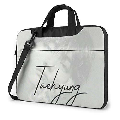 BTS Laptop Case Compatible Shockproof Laptop Shoulder Bag with Removable Strap, 2 Outer Pocket and Zipper for MacBook Tablet Multifunctional Computer Handbag Lightweight Briefcase