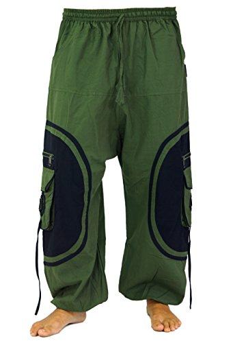 Guru-Shop Goahose, Herren Afghani, Olive/schwarz, Baumwolle, Size:L/XL (54), Hosen Alternative Bekleidung