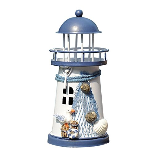 MagiDeal Europäischer Mittelmeer Leuchtturm Kerzenhalter 14-18cm -mit LED Nachtlicht, aus Holz - 14cm Seevögel