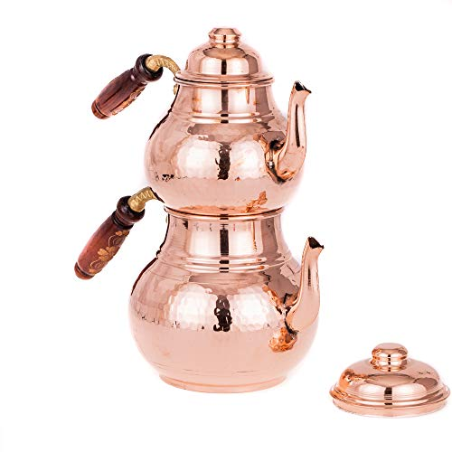 Tetera turca de cobre para tetera y hervidor de té de Caydanlik – Turca Demlik (jarra de repuesto) – Oriental turco...