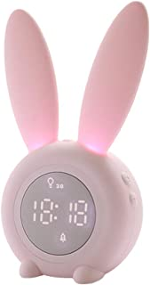 OSALADI Kids Alarm Clock, Cartoon Rabbit Night Light LED Silicone Bedside Light, 5 Ringtones, Touch Control and Snoozing w...