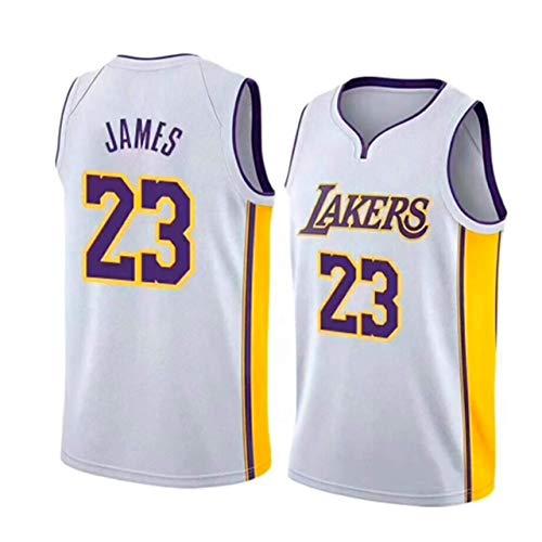 JINHAO Herren Basketball Trikot - Lakers # 23 Lebron James Mesh Basketball Swingman Trikot (Weiß, V Kragen, S)