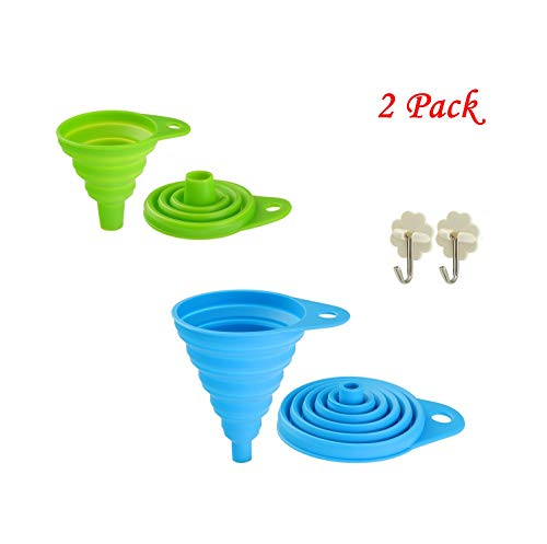 Collapsible Funnel Set Food Grade FDA Approved Silicone Funnel Folding for Cooking Water Bottle Liquids Powders Must-Have Kitchen 1 pack large1 pack small