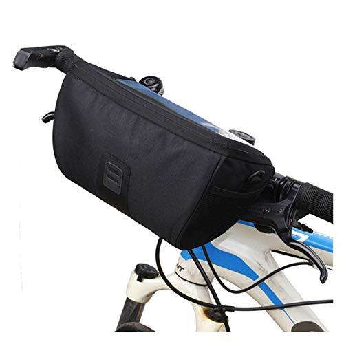 WZWS Bolsa Bicicleta Bolsas de Bicicletas Durable Impermeable Tubo HANDERBAR MANDARIO Bolsa Equipo DE CICINA Aire Libre Bicicleta BICICLE Cesta (Color : Black)