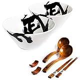 BICETTO Ceramic Japanese Ramen Bowl Set, 60oz Large Ramen Bowls with Chopsticks, Spoons and...