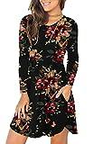Unbranded Women's Floral Print Long Sleeve Pocket Casual Loose T-Shirt Dress Brown Floral Black Medium
