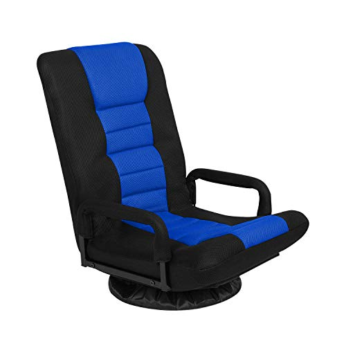 Swivel Gaming Floor Chair with Arms Back Support Adjustable Floor Sofa for Adults Teens Lazy Sofa Lounger Video Game Chair, Black and Blue