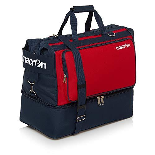 BORSONE MACRON TOPEKA HOLDALL PALESTRA FITNESS SPORT BORSA CALCIO BAGS FOOTBALL TRAINING (Blu Navy / Rosso, Large)