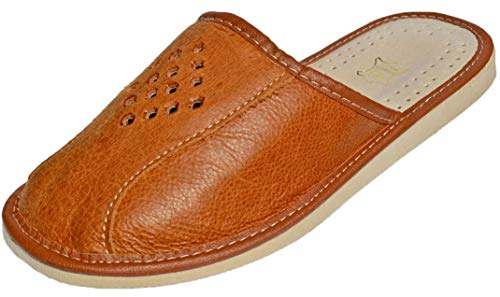 Reindeer Leather Men's Leather Slippers | Genuine Sheepskin Leather Slip-On, Odor Resistant Sole, Therapeutic Foot Bed & Traction Sole, Indoor House Sliders For Men (Tan, Size 9)