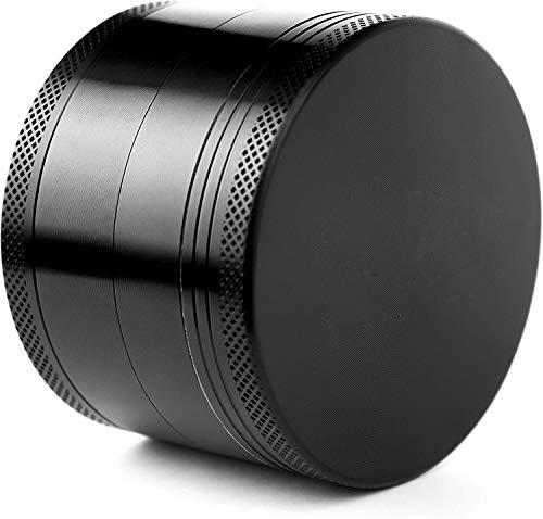 Molinillo de hierbas, pulverizador de aluminio negro con tamiz magnético superior para hierbas secas y tabaco