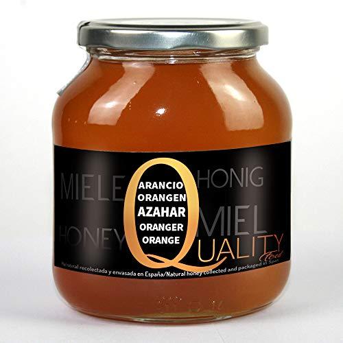 Miel d'abeille pur 100%. Miel de Fleur d'Oranger brut. 1 Kg. Produit en Espagne. Non pasteurisé et non chauffé. Artisan de haute qualité. Bocal en verre. Grande variété de saveurs exquises.