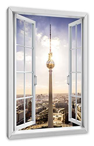 Pixxprint Großstadt Fernsehturm Berlin City, Fenster Leinwandbild  Größe: 100x70 cm   Wandbild   Kunstdruck