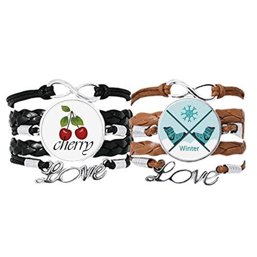 Bestchong Armband mit Skischuhen, Wasserfarbenmuster, Handschlaufe, Lederseil, Kirschmotiv, Doppelset