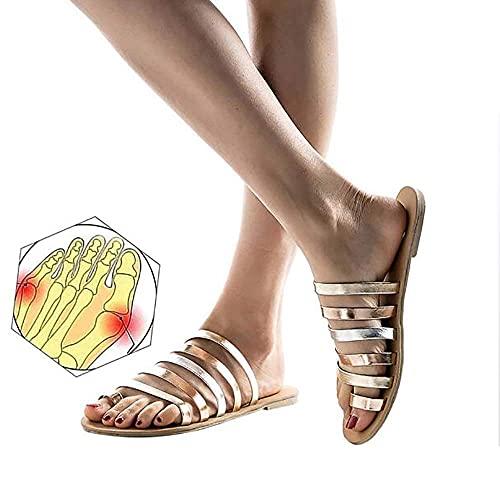 WYZXR Versión Mejorada Sandalias Planas cómodas para Mujer Sandalias de cuña para Mujer Zapatos ortopédicos con Punta Abierta Chanclas de Viaje en la Playa de Verano Chanclas correctivas para juane