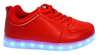 Galaxy LED Shoes Light Up USB Charging Low Top Women's Sneakers (Red) 7