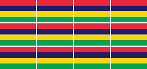 Mini Aufkleber Set - Pack glatt - 50x31mm - Sticker - Mauritius - Flagge - Banner - Standarte fürs Auto, Büro, zu Hause & die Schule - 12 Stück