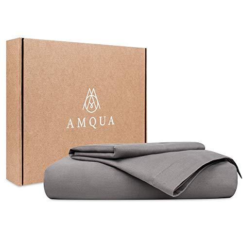 Amqua Mako Satin Bettwäsche 135x200cm + 80x80cm Kissenbezug, 100% zertifizierte Bio Baumwolle, grau