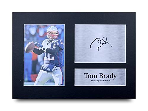 HWC Trading Tom Brady A4 Ungerahmt Signiert Gedruckt Autogramme Bild Druck-Fotoanzeige Geschenk Für New England Patriots American Football Fans