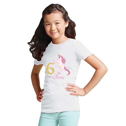 NanyCrafts' Personalized UNICORN Birthday Gold Glitter Girl's shirt 4Y White