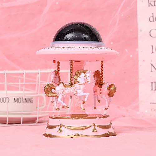 Rodipu con Caja de música con luz de proyección, Regalo, Caja de música, giratoria para decoración del hogar, Regalo de cumpleaños, (Large Pink)