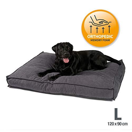 JAMAXX Premium Hundekissen Orthopädisch Memory Visco Schaum Waschbar Abnehmbarer Bezug Wasserabweisend - Weicher Samtiger Sofa Stoff - Hundebett PDB1001 (L) 120x90 grau