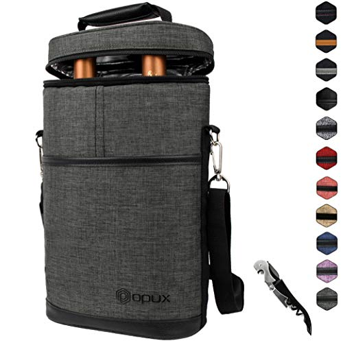 Insulated 2 Bottle Wine Carrier | Wine Tote Bag with Shoulder Strap, Padded Protection, Corkscrew Opener | Portable Wine Cooler Carrying Bag for Travel Picnic - Charcoal