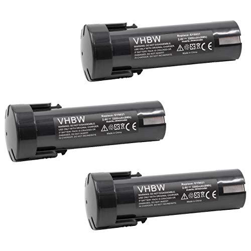 vhbw 3x Batería compatible con Weidmüller DMS 3 herramientas eléctricas (3300mAh NiMH 2,4V)