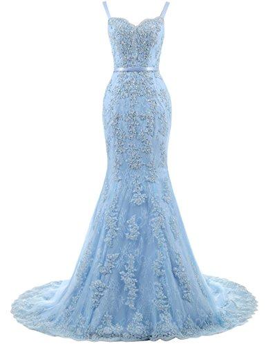 Ballkleider Lang Damen Abendkleider Hochzeitskleider Meerjungfrau Spitze mit Träger Blau EUR44
