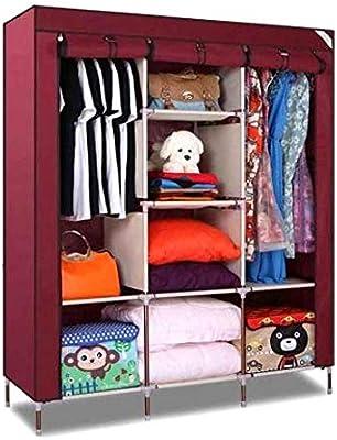 Lukzer 1PC Multipurpose Storage Organizer Clothes Wardrobe Imported Non-Woven Portable Fabric Closet with 8 Shelves (Wine Red / 130 x 45 x 175 cm)