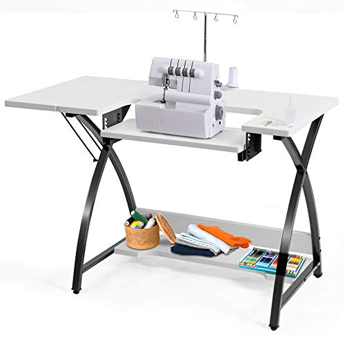 Costway Sewing Craft Table, Adjustable Multifunction Crafting Machine Desk with Storage, Sturdy Computer Desk with White Finish, Ideal for Home Indoor