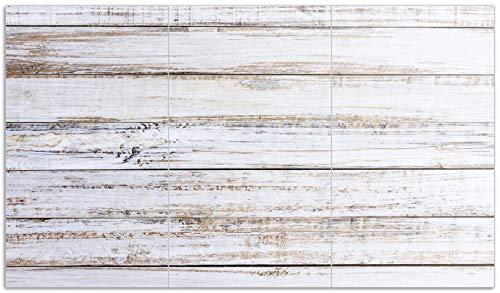 Wallario Herdabdeckplatte/Spritzschutz aus Glas, 3-teilig, 90x52cm, für Ceran- und Induktionsherde, Helle Holzstruktur - Muster - Alter Dielenfußboden