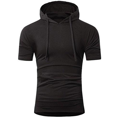 VEMOW Männer Sommer Mode Lässig Täglichen Arbeit Strand Mit Kapuze Pullover Herren Kurzarm T-Shirt Pulli Tops(Schwarz, 56 DE/L CN)