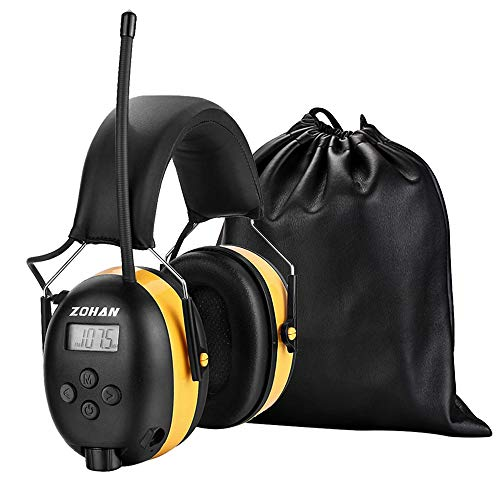 [Verbesserte] ZOHAN 042 Gehörschutz mit Radio FM/AM, MP3-kompatibel Geräuschminderung Ohrenschützer für Industrie, BAU und Mähen, SNR 31dB MEHRWEG (Gelb)
