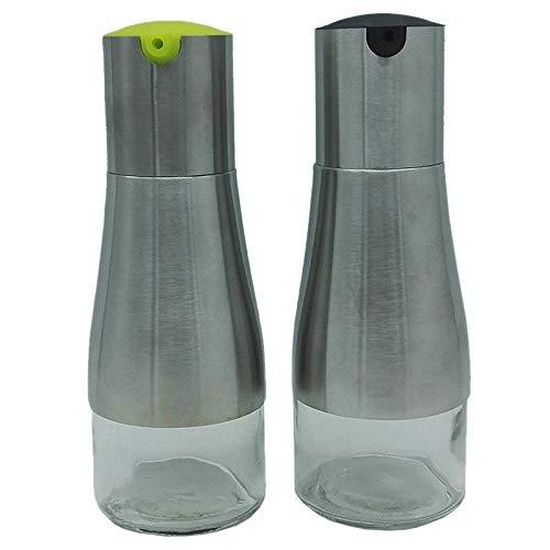 Gaoominy Bottiglia di Olio in Acciaio Inossidabile Ingresso Olio Grande Dispenser di Olio D'Oliva Aceto e Salsa di Soia Olio Bottiglia di Aceto Olio e Bottiglia di Aceto Nero + Verde
