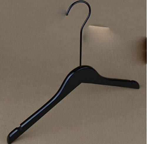 10 unids/Lote 40 cm / 44,5 cm Perchero de Madera Vintage de Madera Maciza Negra, Tienda de Ropa Percha de Madera Antideslizante.Clips para Pantalones