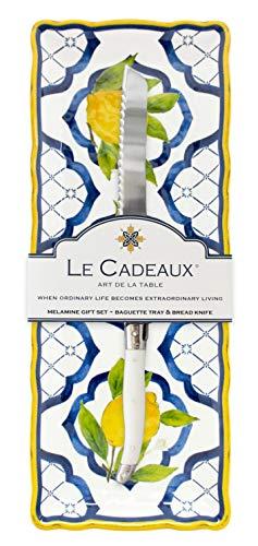 Le Cadeaux GS-BT-PAL Palermo Melamine Baguette Tray and Laguiole Bread Knife Gift Set, Lemon