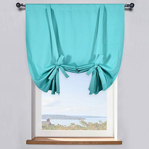 DONREN Turquoise Tie-Up Shade for Small Window - Window Treatment Energy Efficient Balloon Shade Curtain Kitchen Decor (42 W x 45 inches Long,1 Panel)