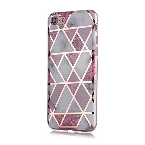Fatcatparadise Cover per iPhone SE 2020 (4,7 Pollice) [con Pellicola in Vetro Temperato], [Marmo] TPU Morbido Silicone Bumper Cover [Ultra Sottile] Protettiva Case(Rosa)