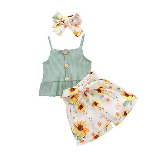 Baby Girl Summer Clothes Cute Halter Top+Floral Shorts+Headband Baby Girl Shorts Set (Green, 18-24 Months)
