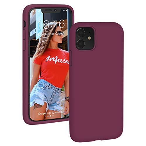 PROBIEN Coque Compatible avec iPhone 11, Silicone Liquide Coque Anti-Choc Housse de Couleur Protection Complète Cover Étui de iPhone 11 6.1 Pouces - Vin Rouge