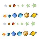 BESPORTBLE 109Pcs Brilham Nas Estrelas Escuras Adesivos Lua Planetas Luminosos para Adesivos de Teto Adesivos Brilhantes para Céu Estrelado Decalques de Parede de Quarto de Berçário