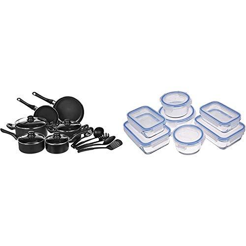 Amazon Basics - Juego de utensilios de cocina antiadherentes, 15 piezas + Recipientes de cristal para alimentos, con cierre 14 piezas (7 envases + 7 tapas), sin BPA